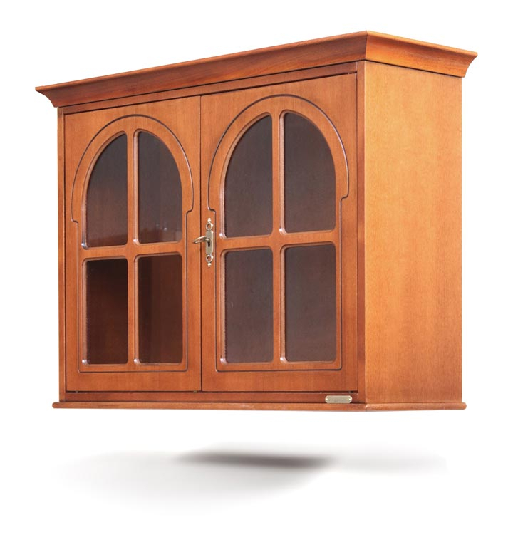 Wooden wall cabinet 2 rounded doors