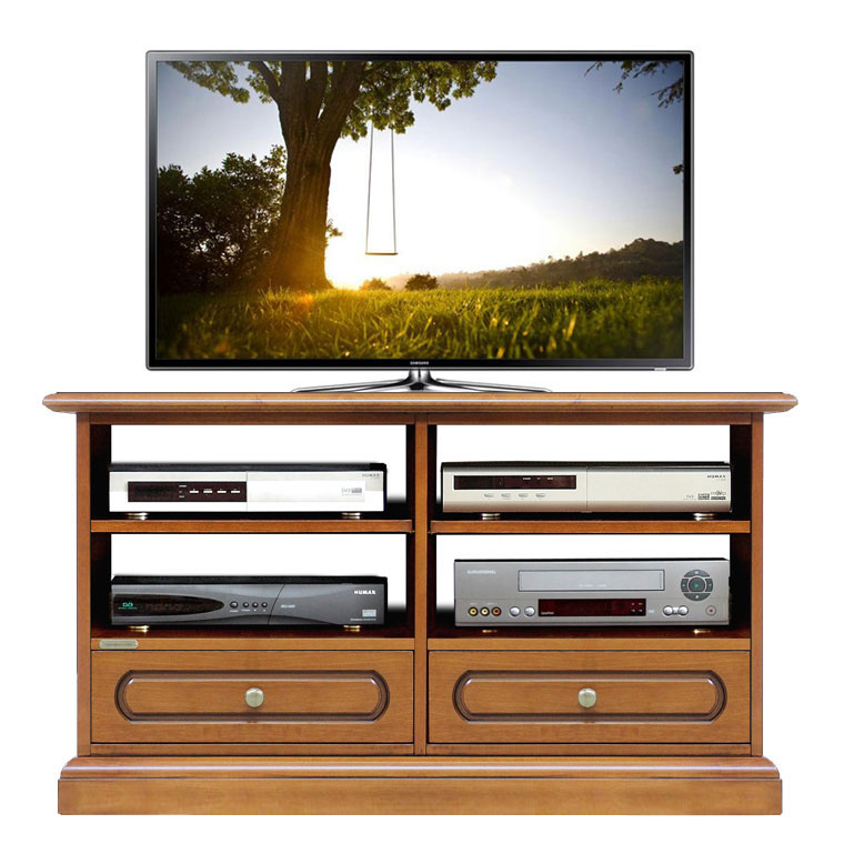 Classic tv stand with shelves