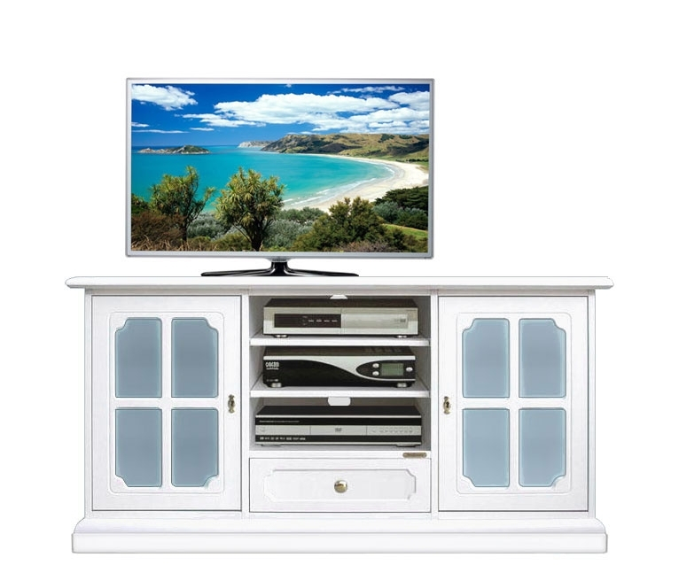 Blue glass Tv sideboard in wood,133 cm wide