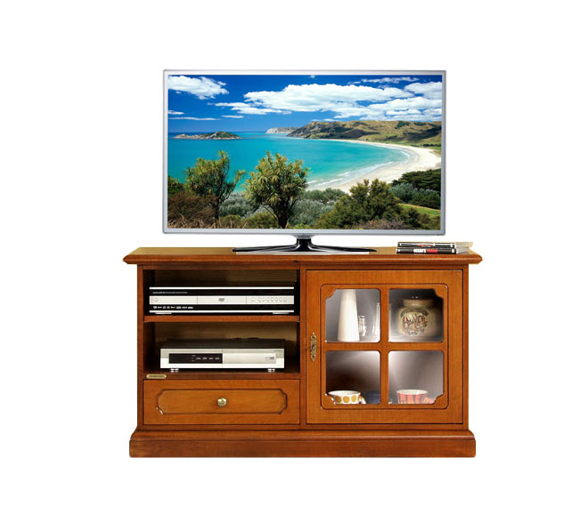 Small wooden tv unit with glass door