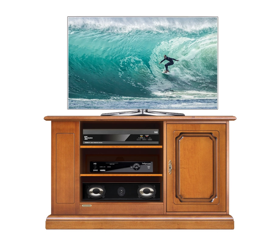 Wooden entertainment unit with side shelving