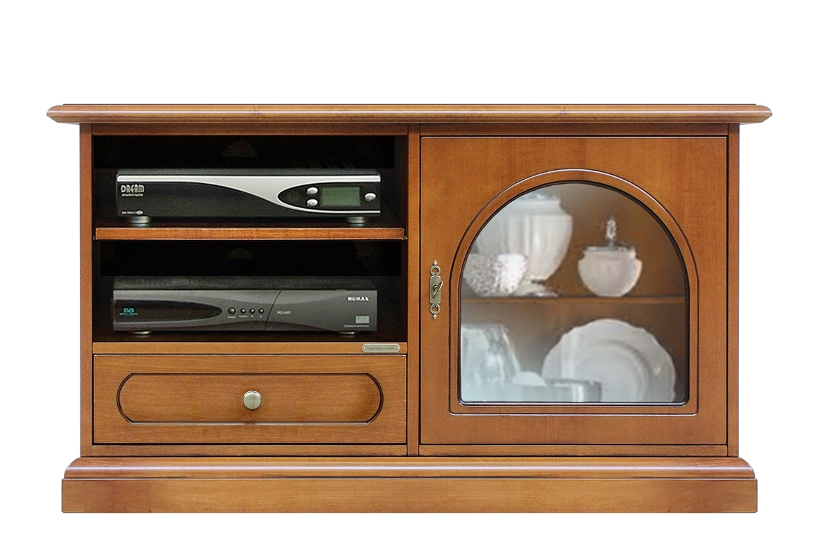 Small TV cabinet with rounded glass door
