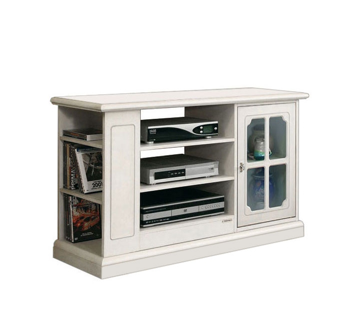 Living room TV unit with side shelves
