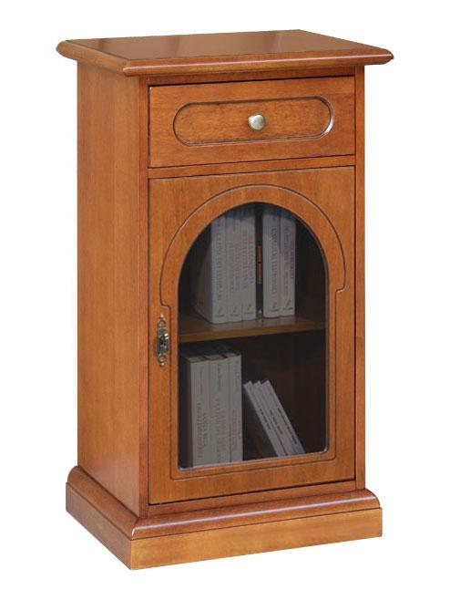 Wooden cabinet round glass door
