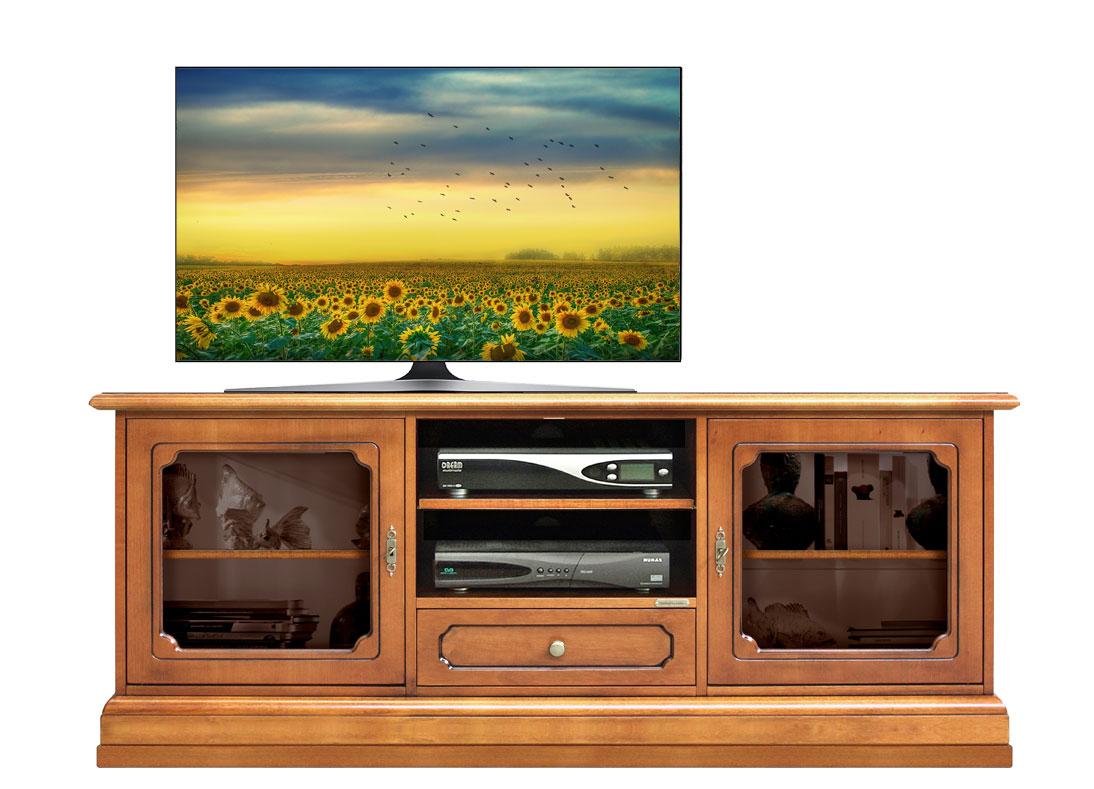 Glass door tv cabinet in wood for living room