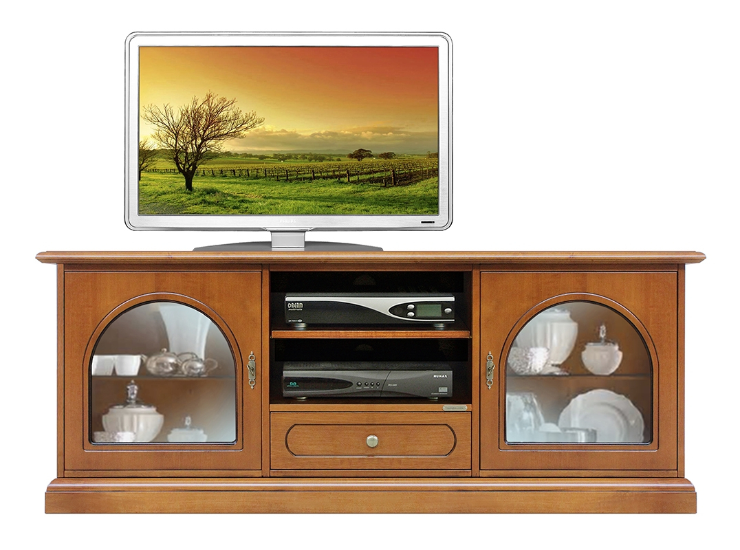 Tv cabinet with 2 glass doors