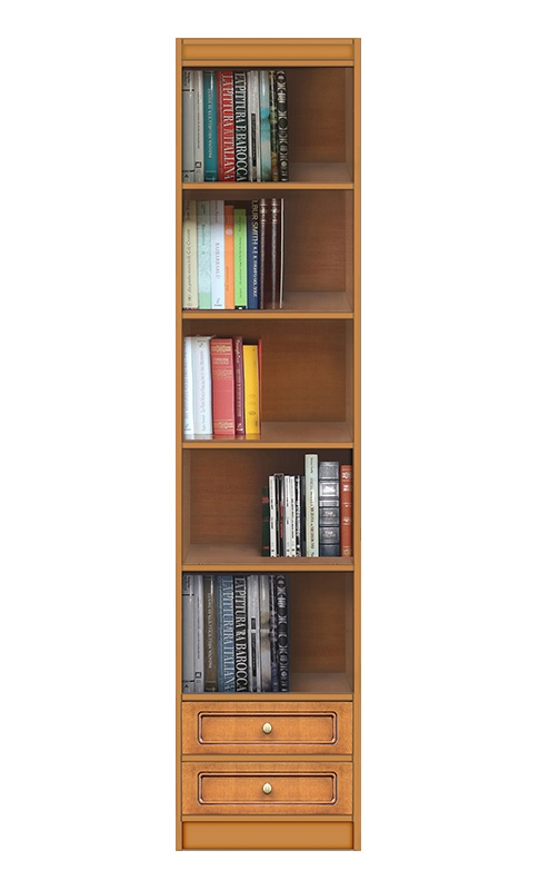 Modular bookcase 2 drawers and adjustable shelves