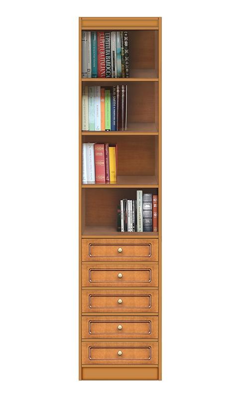 Classic modular bookcase 5 drawers