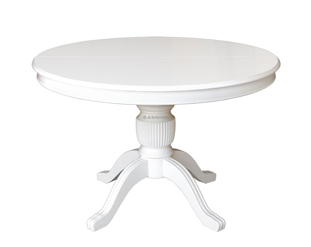 Extendable dining table in wood, 120-160 cm, round shape