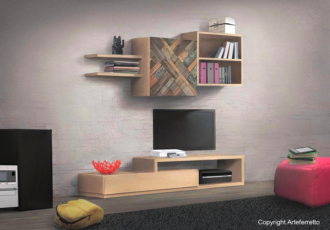 Modular wooden living wall MixIT - option 16