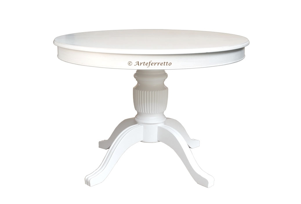 Lacquered round table, extendable 100-140 cm