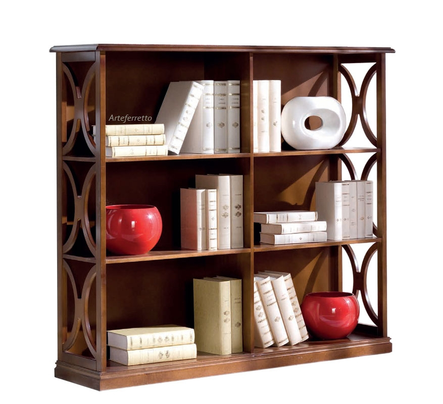 Low bookcase in wood Arco collection