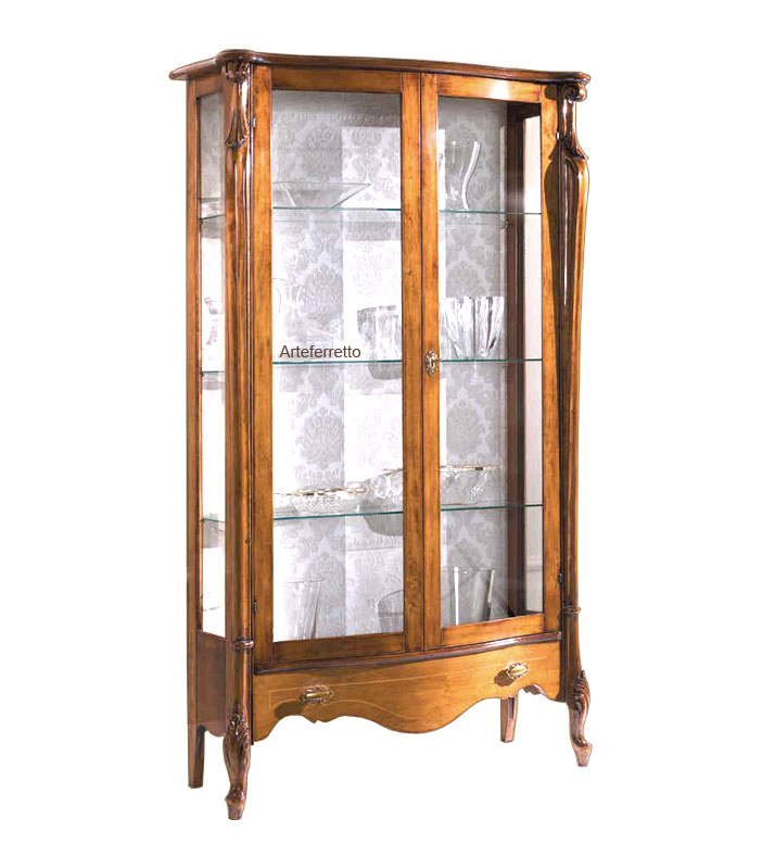 2 door glass cabinet with drawer