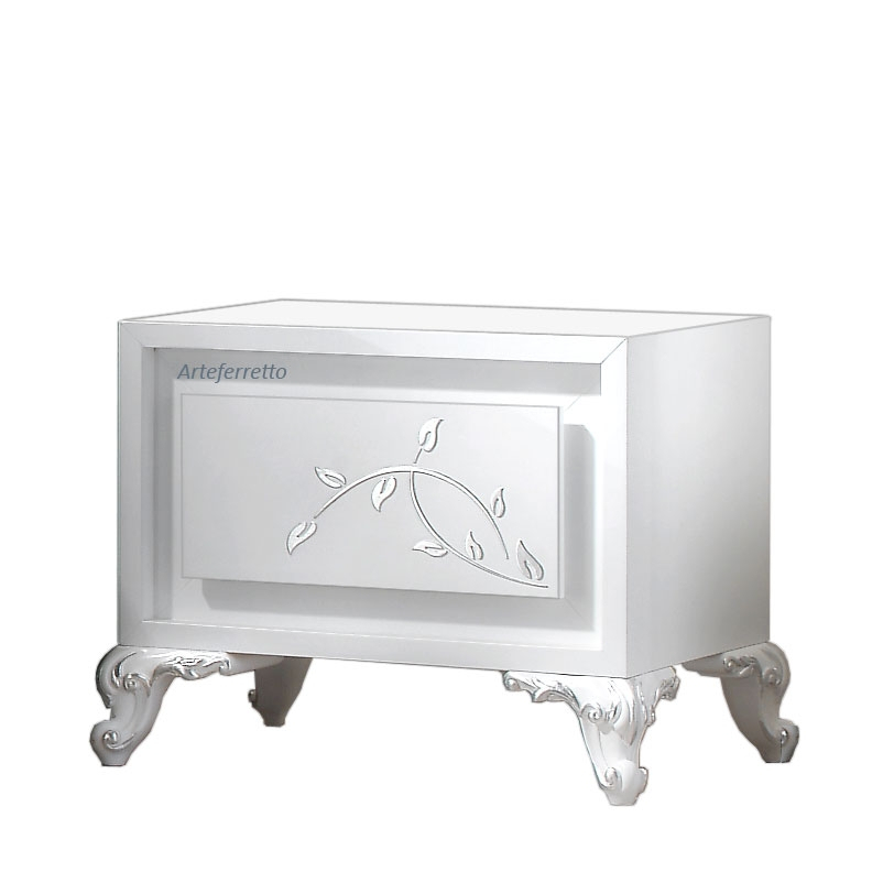 White bedside table with 1 drawer, silver decorations