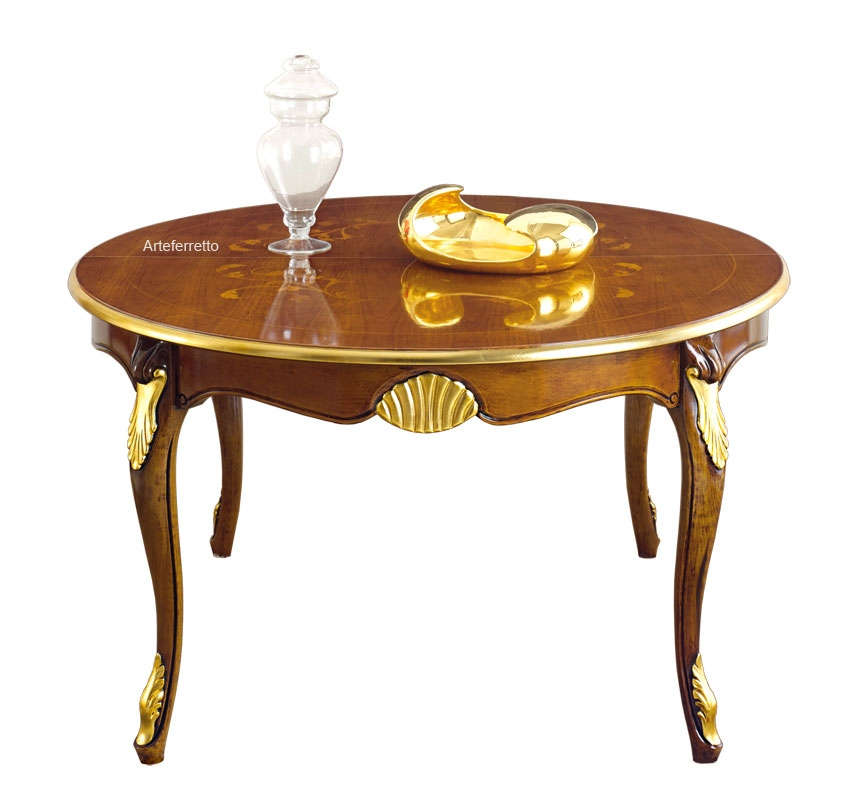 Round dining table with inlaid top, extendable 140-240 cm