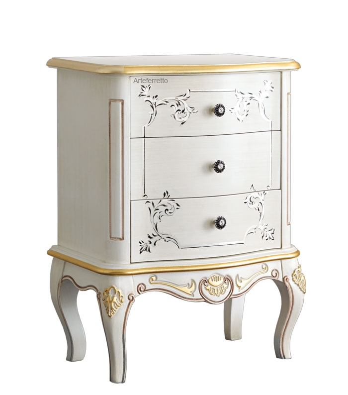 Decorated nightstand 3 drawers