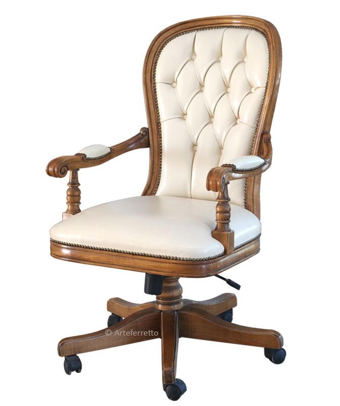 Upholstered swivel armchair for office Timeless