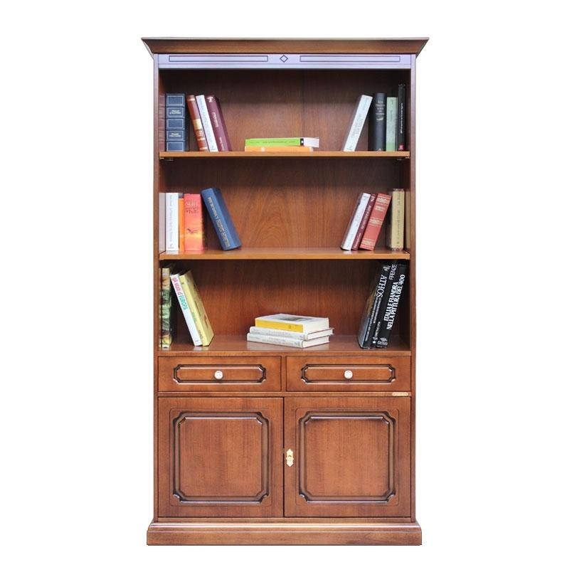 Wooden bookcase 2 door 2 drawers