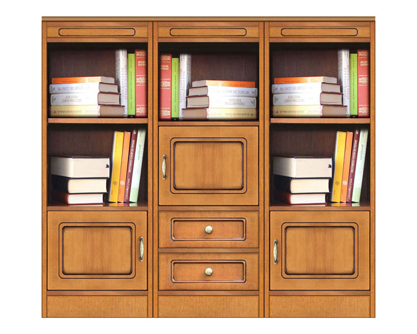 Low bookcase in wood Compos Collection