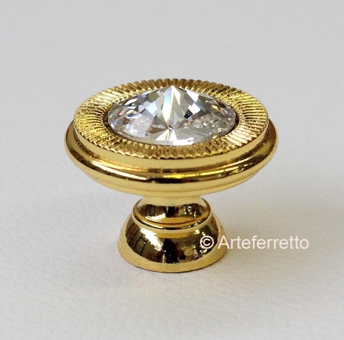 Gold knob 25 mm Swarovski set