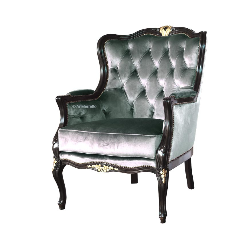 Upholstered reading armchair Smeraldo