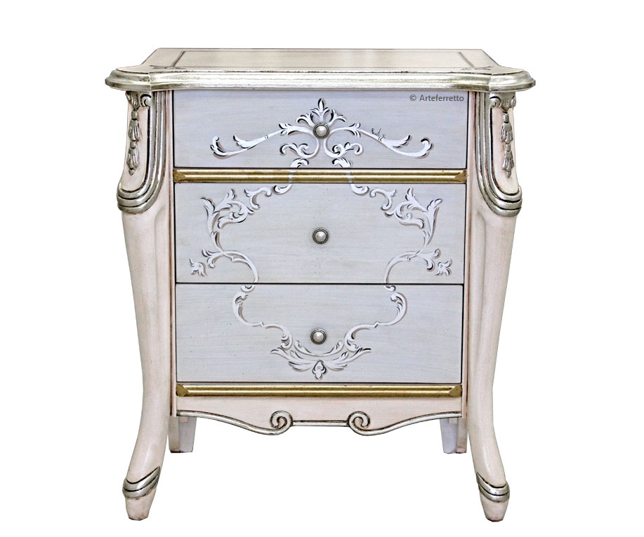 Silver decorated bedside table