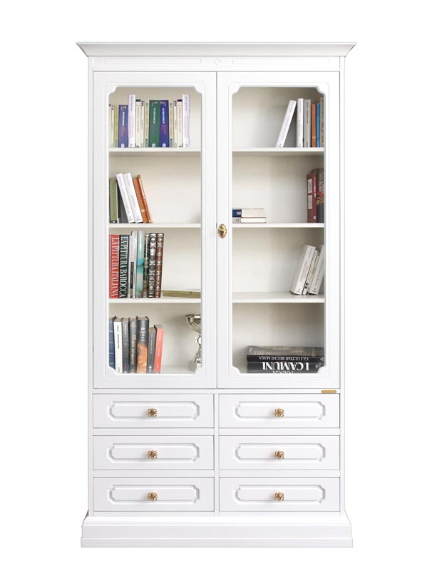 Glass door tall bookcase 6 drawers