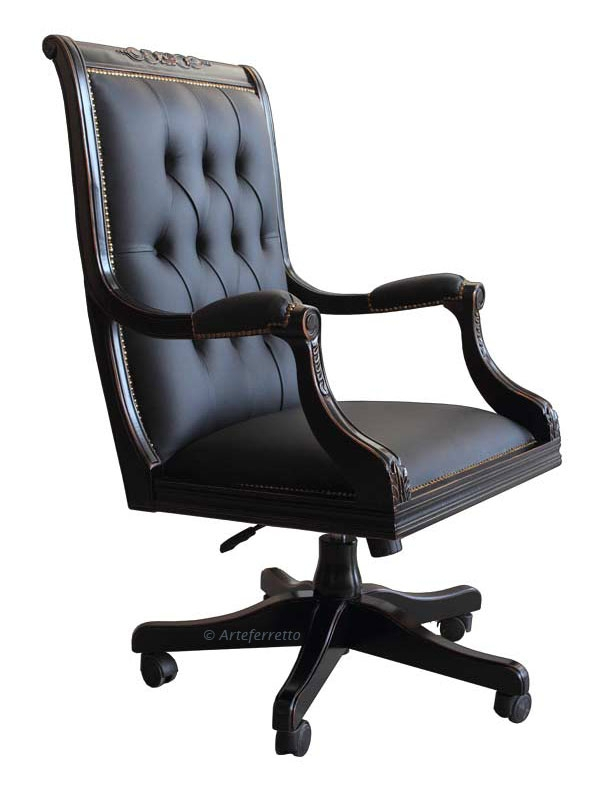 Office swivel armchair in black