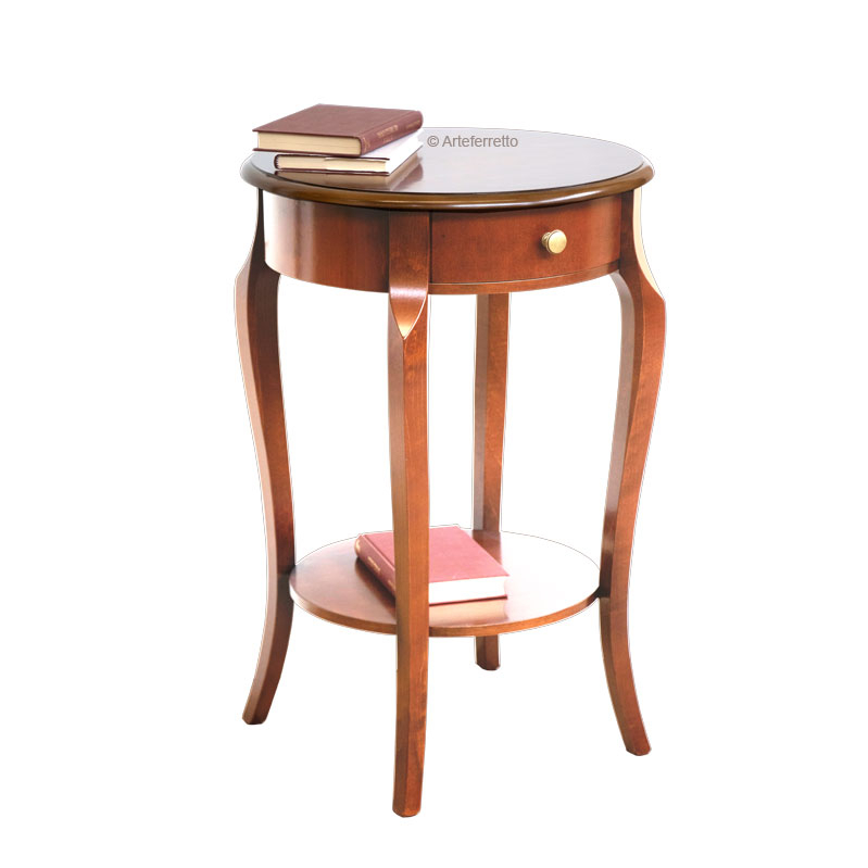 Round lamp table with drawer