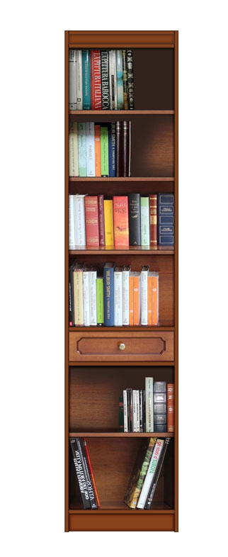 Wooden bookshelf with drawer