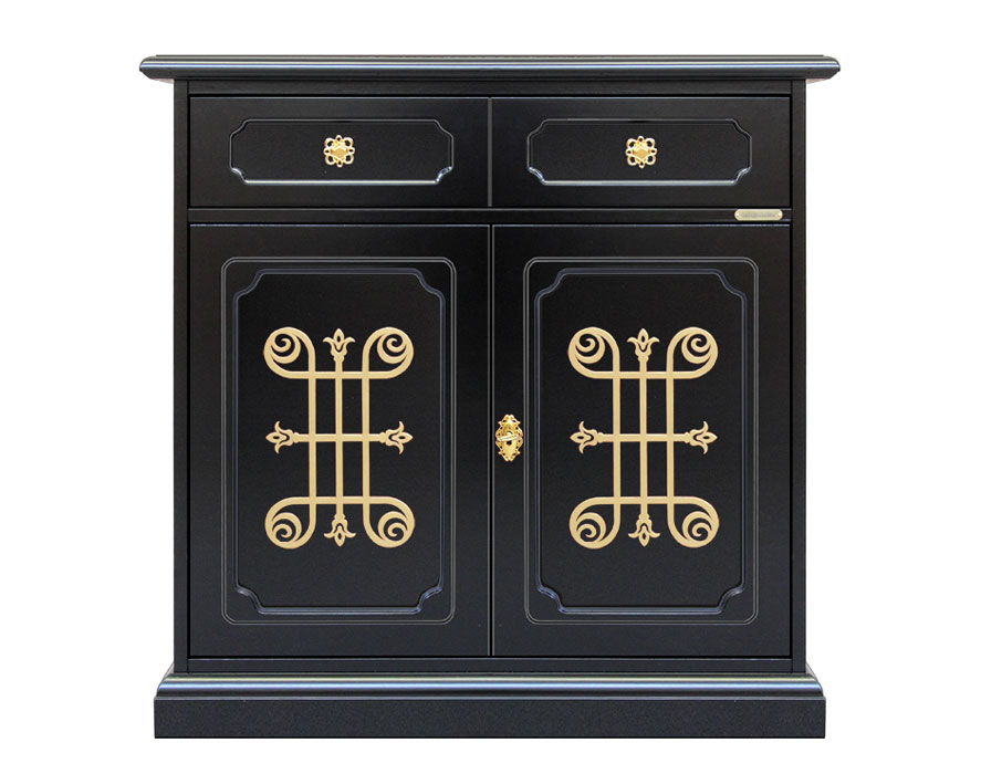 2 door black sideboard gold pattern