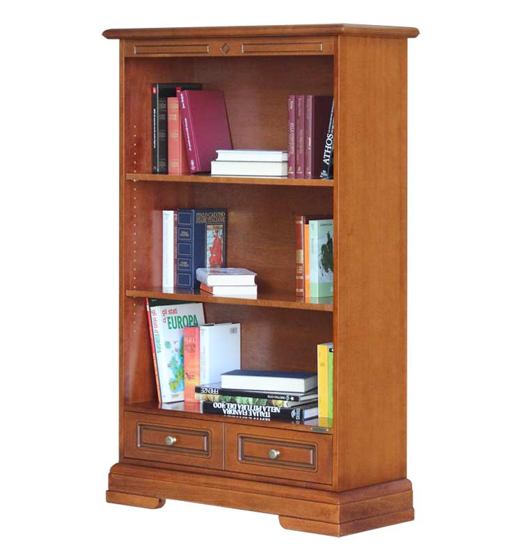 Open shelving bookcase with drawer