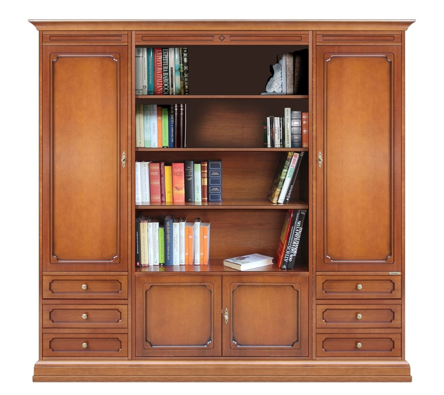 Wall unit with open central compartment
