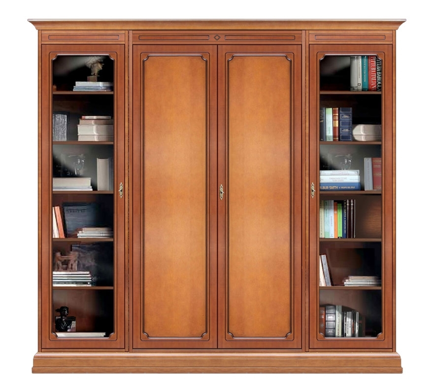 Wooden wall unit with glass doors