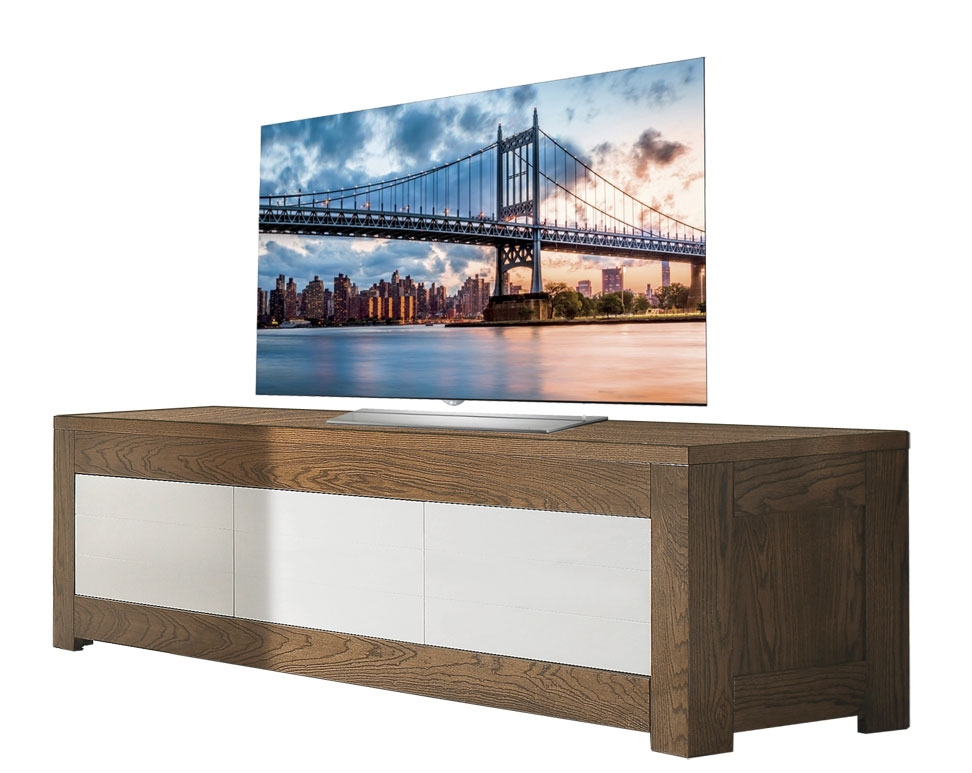 Two tone tv stand in ash wood