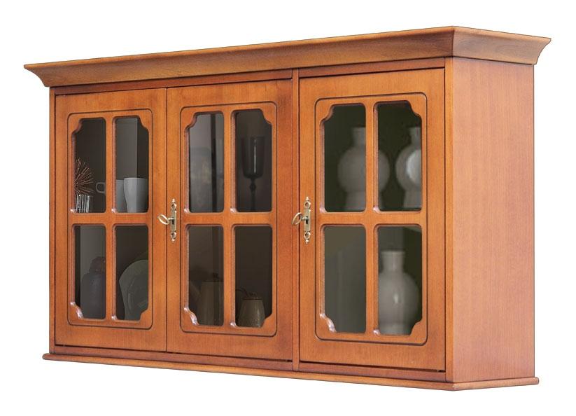 3 glass door wall unit in wood
