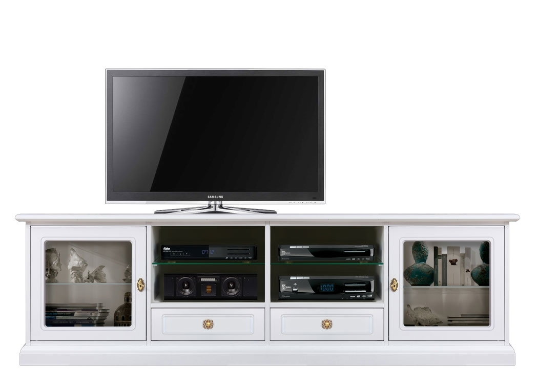 Glass door tv stand for living room