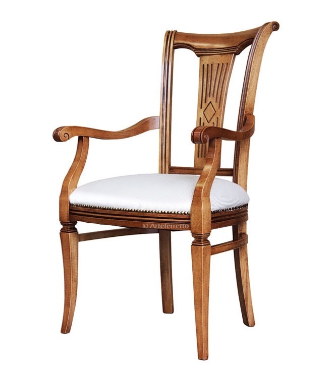 Wooden chair with stylized backrest
