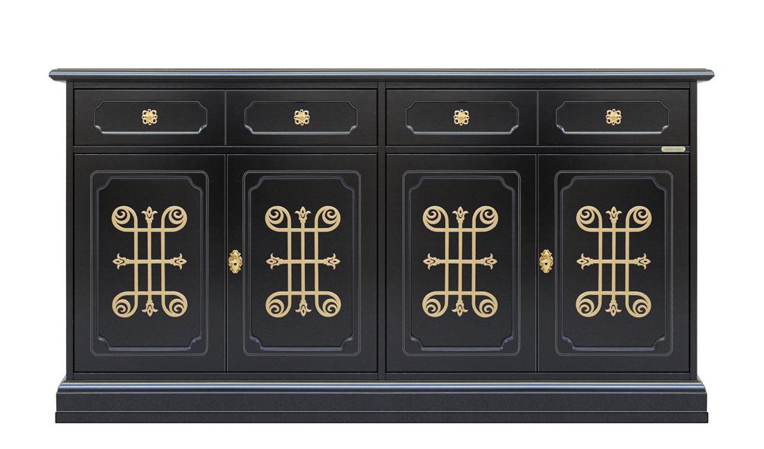 4 door black sideboard dining room