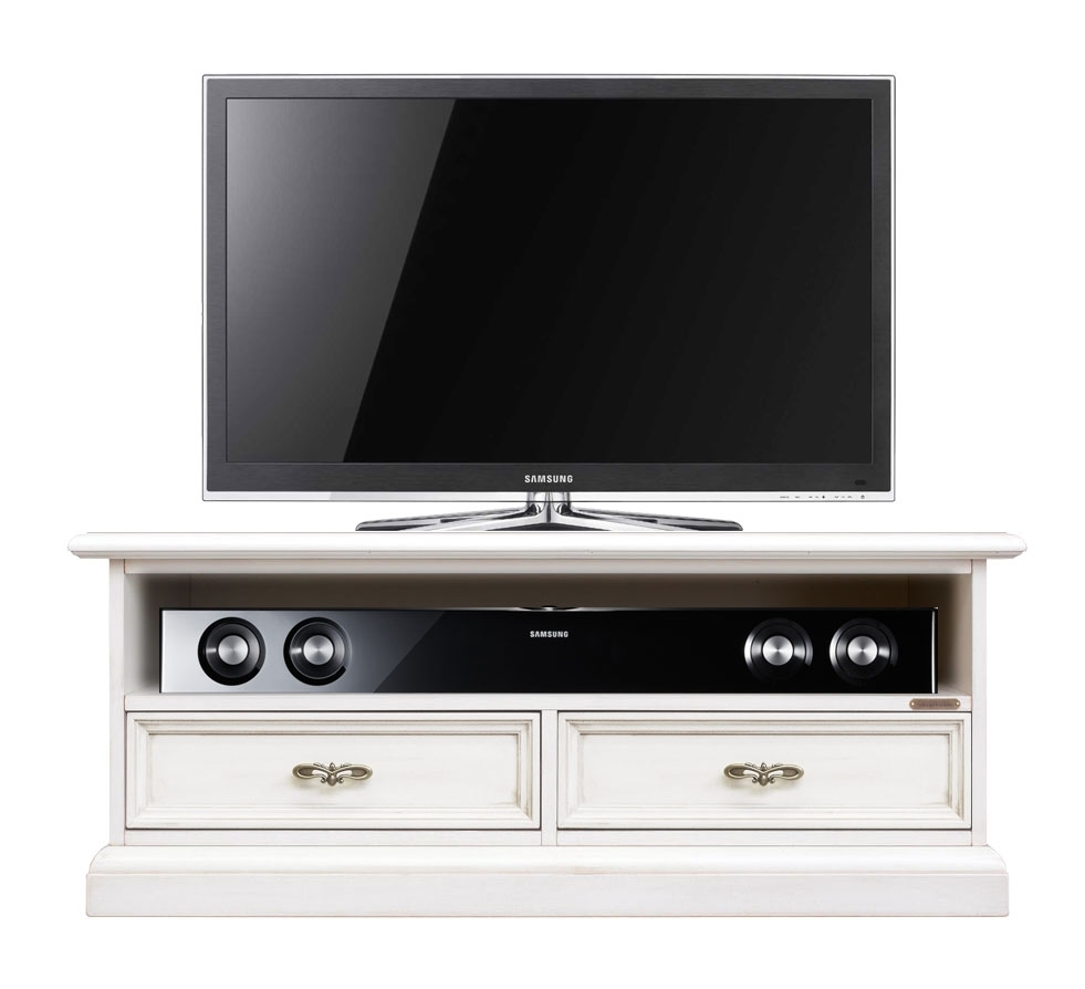 Low 2 drawer tv unit in wood