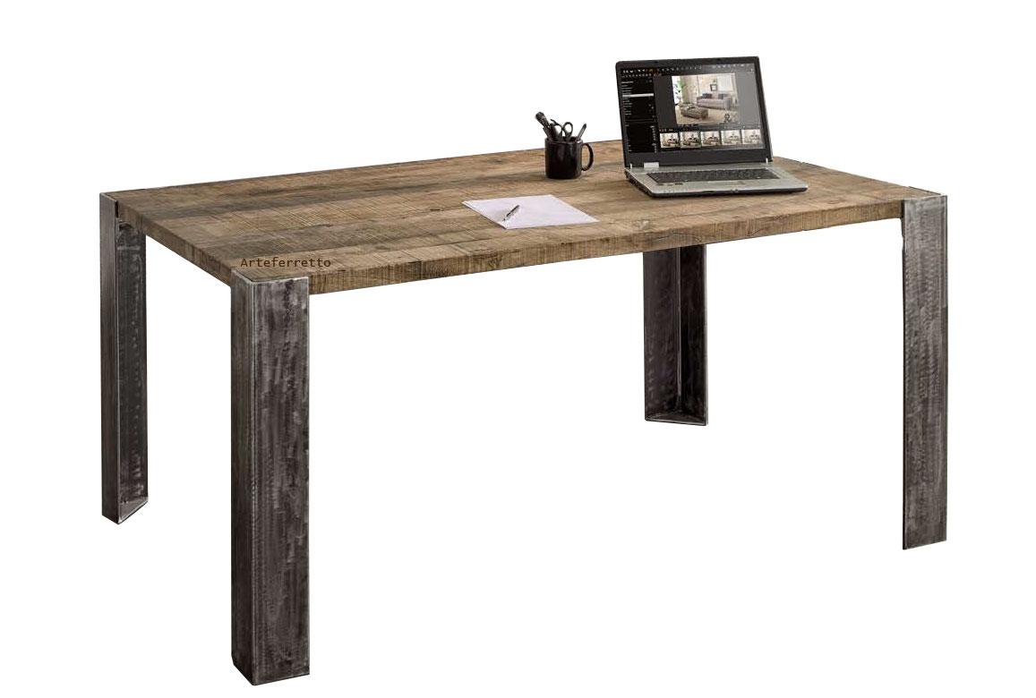 Industrial table in oak wood
