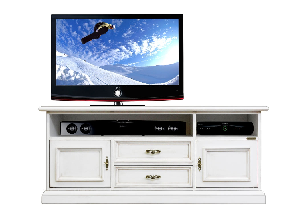 Low tv stand with soundbar shelf