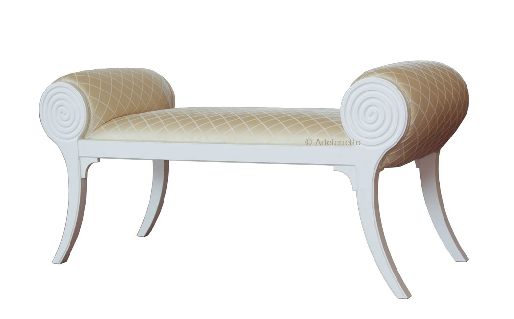 Upholstered bedroom bench in wood
