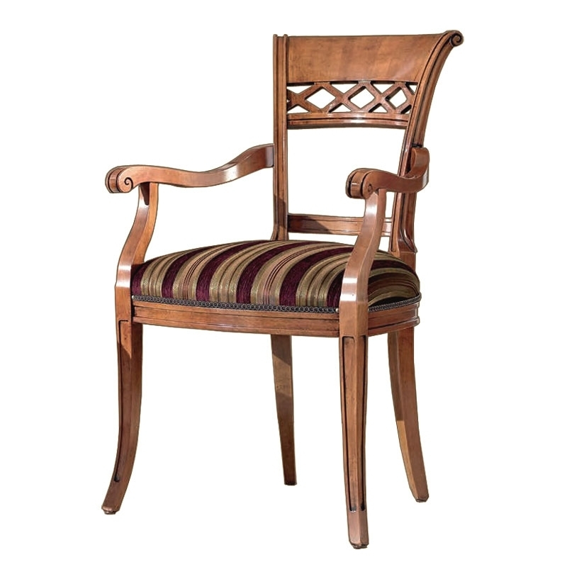 Armrests dining chair carved wood