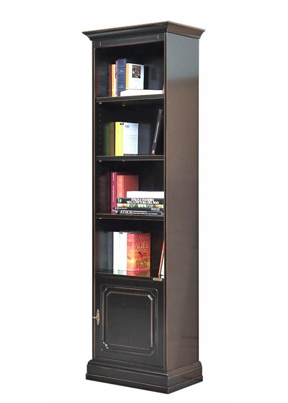 Space saving bookcase in black