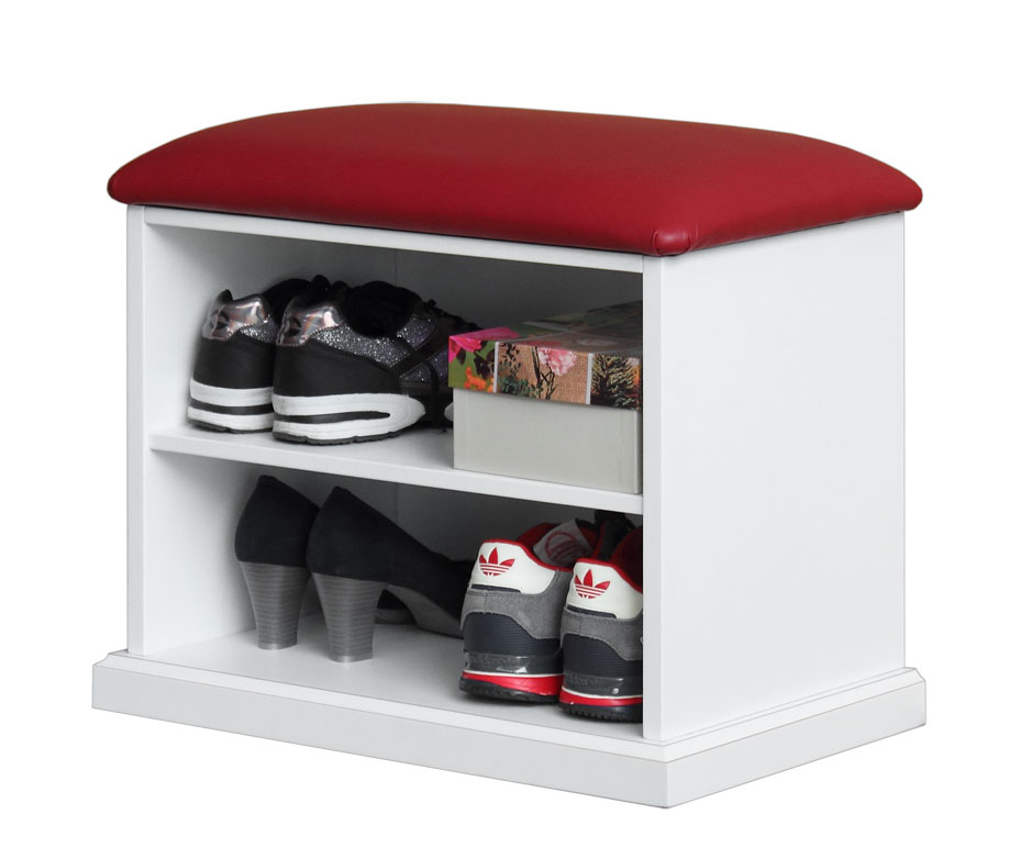 Shoe rack with upholstered seat