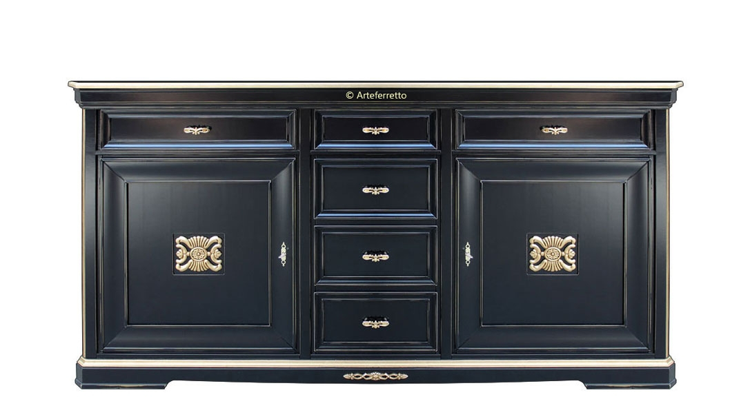 Black sideboard with gold details Today