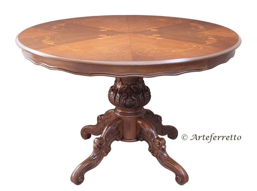 Extendable rounded table with inlays 120-158 cm