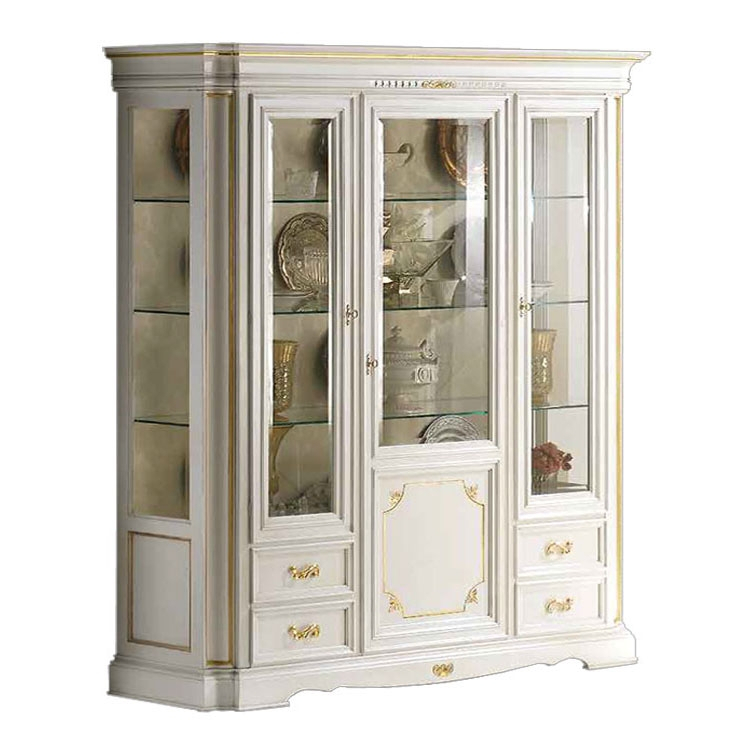 Living Display cabinet in white and gold