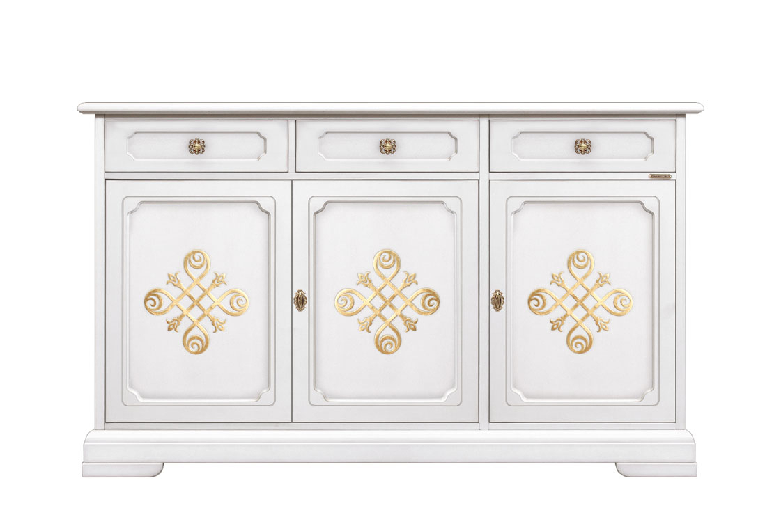 Lacquered sideboard with gold details